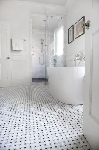 Master Bath Basketweave Floor Tile With Wainscotting