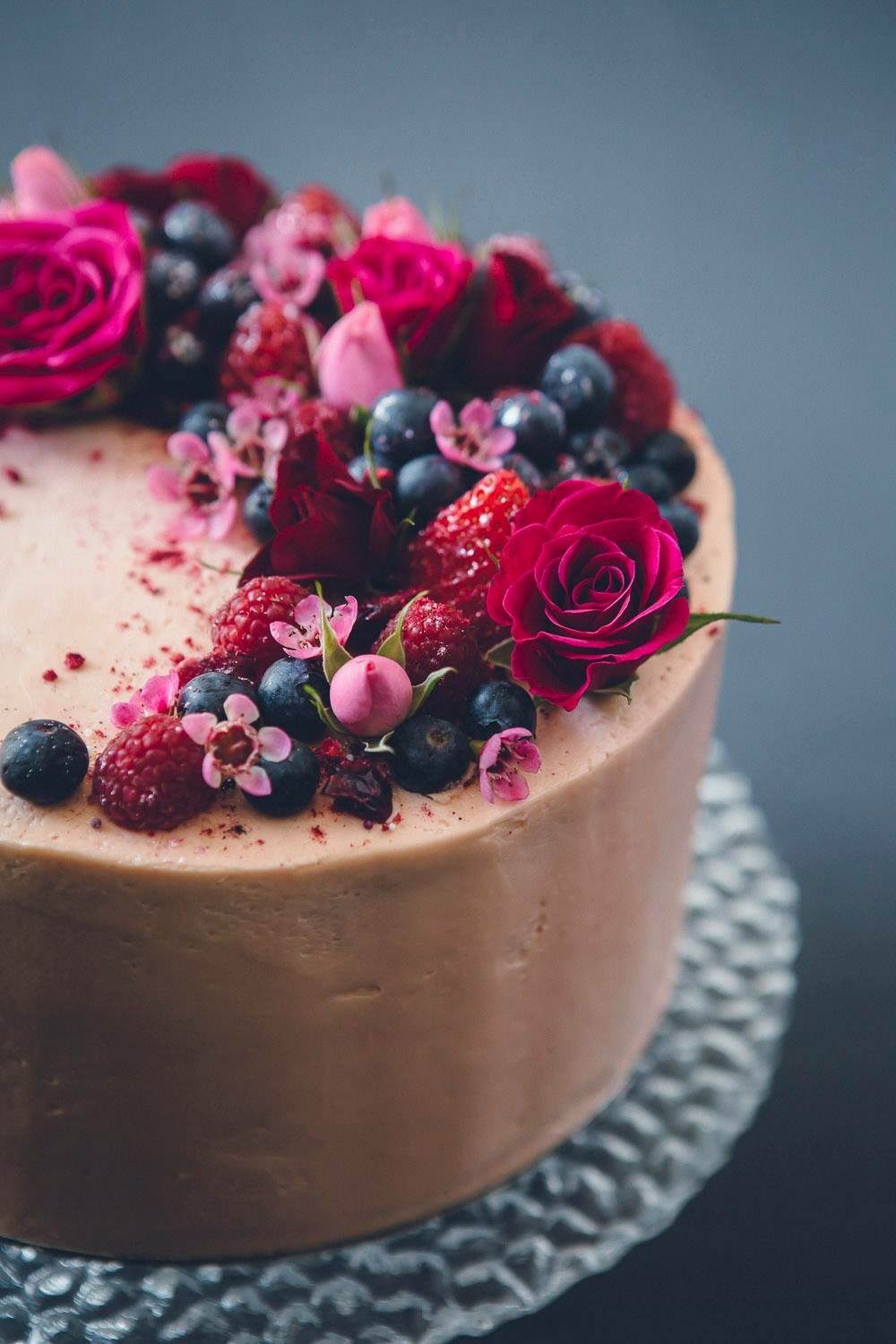 Chocolate Cake Decorated With Berries And Flowers Easy Chocolate