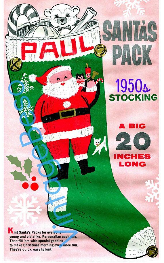 $2.25 INSTANT DOWNLOAD Paul STOCKING Knitting Pattern PDF Patte ...