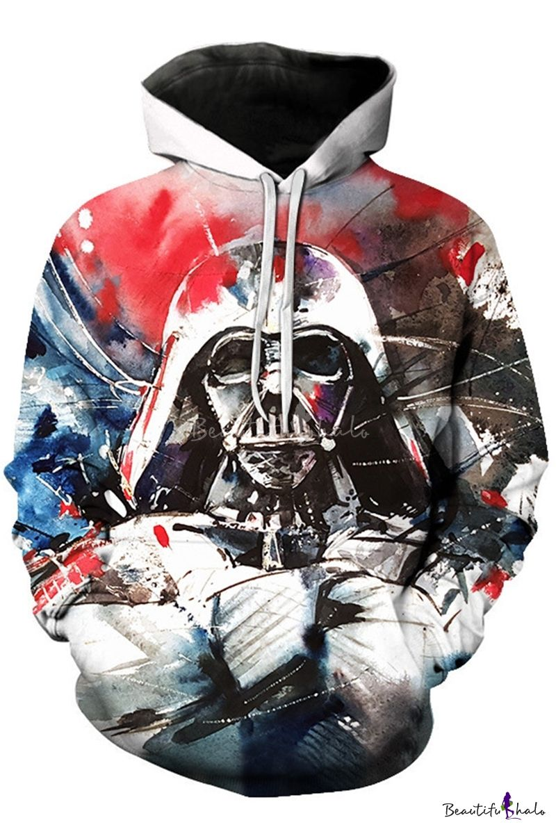 Star Wars Darth Vader 3d Print Casual Loose Pullover White Hoodie Star Wars Prints Darth Vader 3d Print Hoodies [ 1200 x 800 Pixel ]