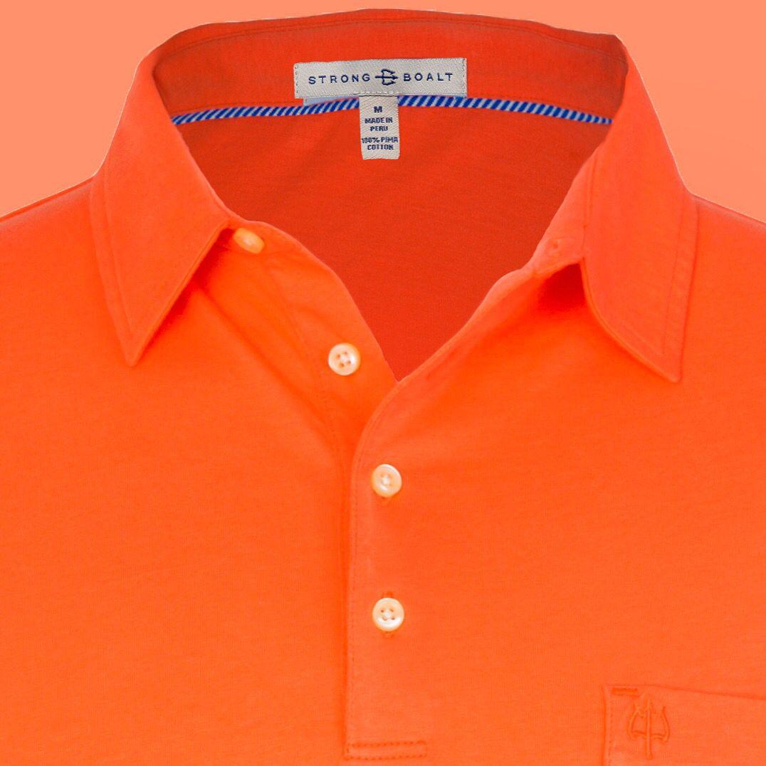 Our orange #PimaCotton #madeinPeru #AlexanderPolo more here http://www.strongboalt.com/shop/the-alexander-polo-ss-orange #StrongBoalt #menswear #sportswear #resortwear #cotton