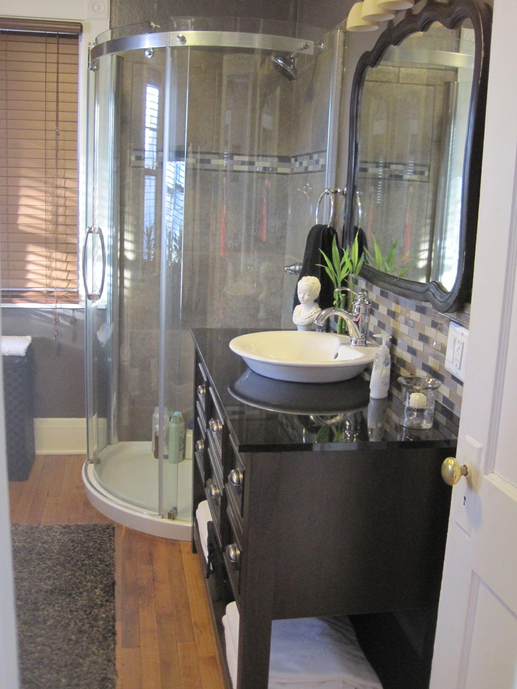 Corner Shower- Small Bathroom