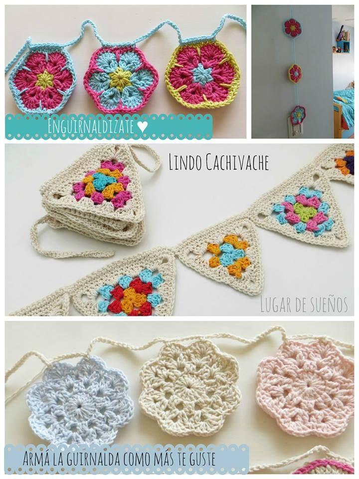Banderines de Lindo Cachivache | Crochet | Crochet, Crochet bunting ...