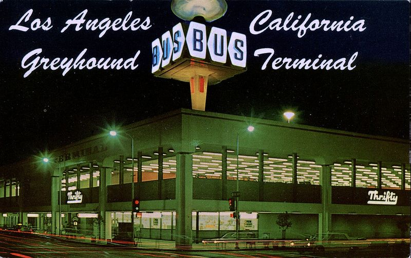 Greyhound Bus Terminal Los Angeles Ca Bus Terminal Greyhound Bus California Postcard