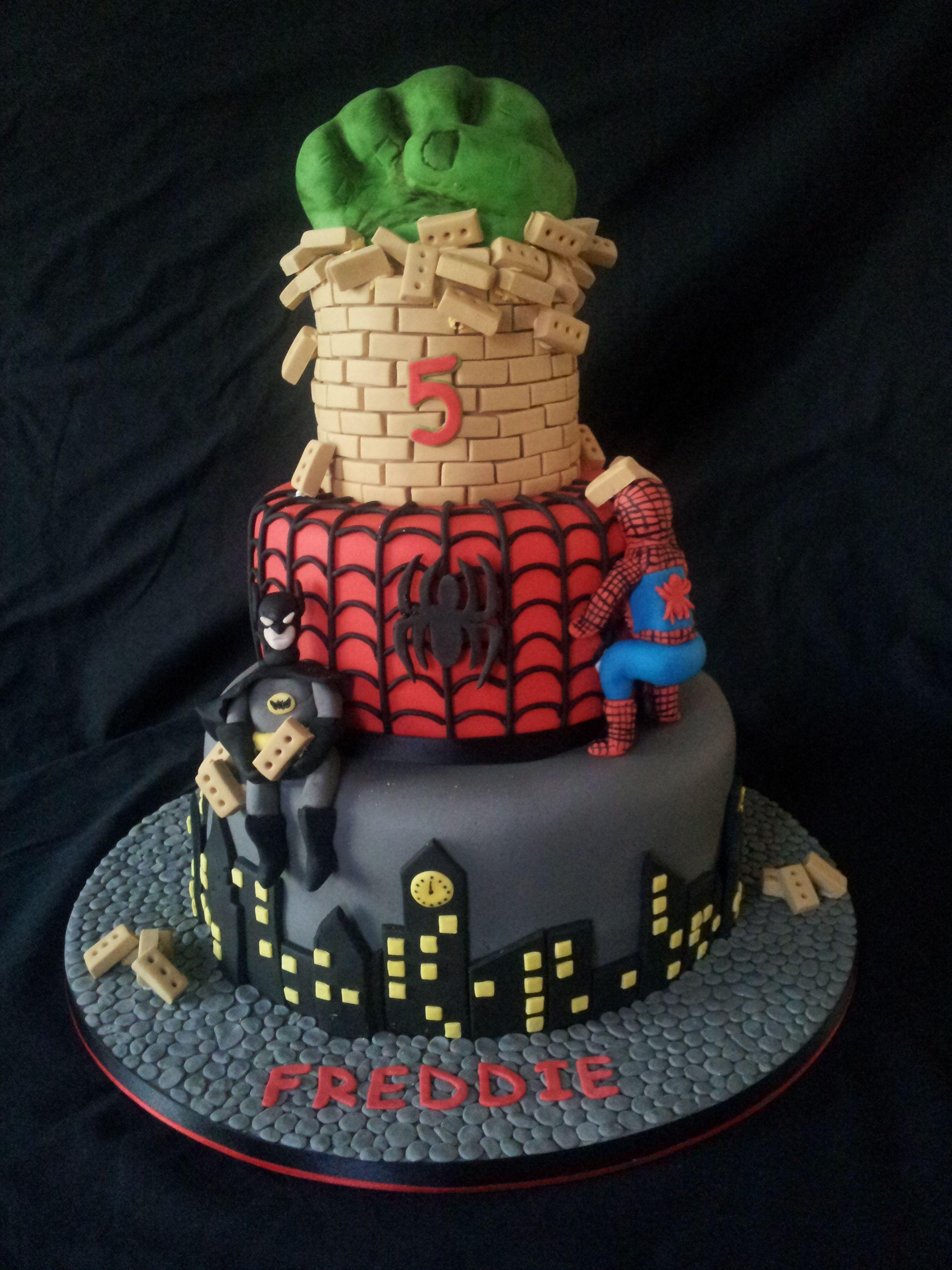 3 Tier Birthday Cake Batman Spiderman And Hulk Awesome