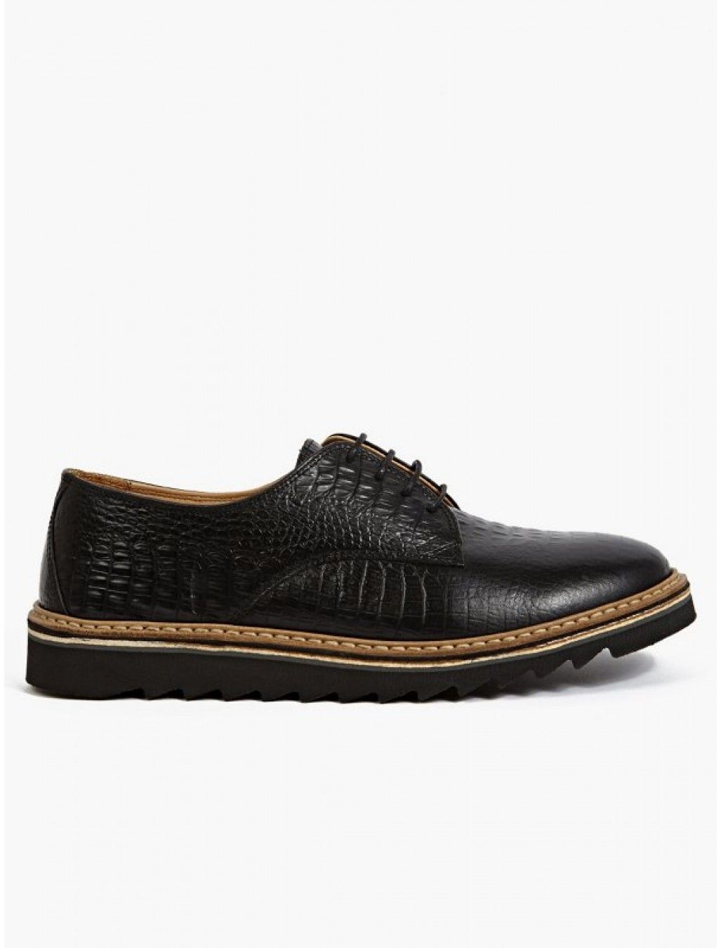 Purified Men's Crocodile Embossed Leather Derby Shoes
