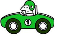 Graphic of a cartoon-like green race car and driver.
