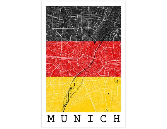 Munich Street Map Munich Germany Flag Modern Art by JurqStudio