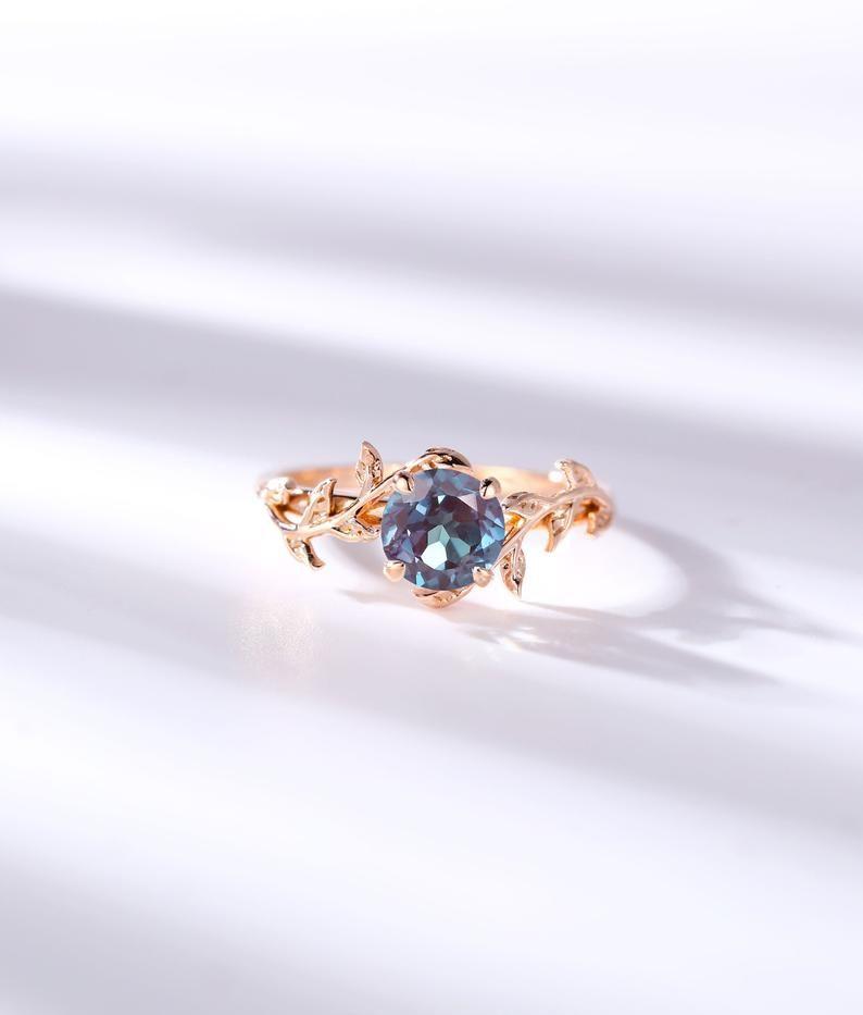 Vintage Mondstein Verlobungsring Blatt Blume Ring alternative | Etsy