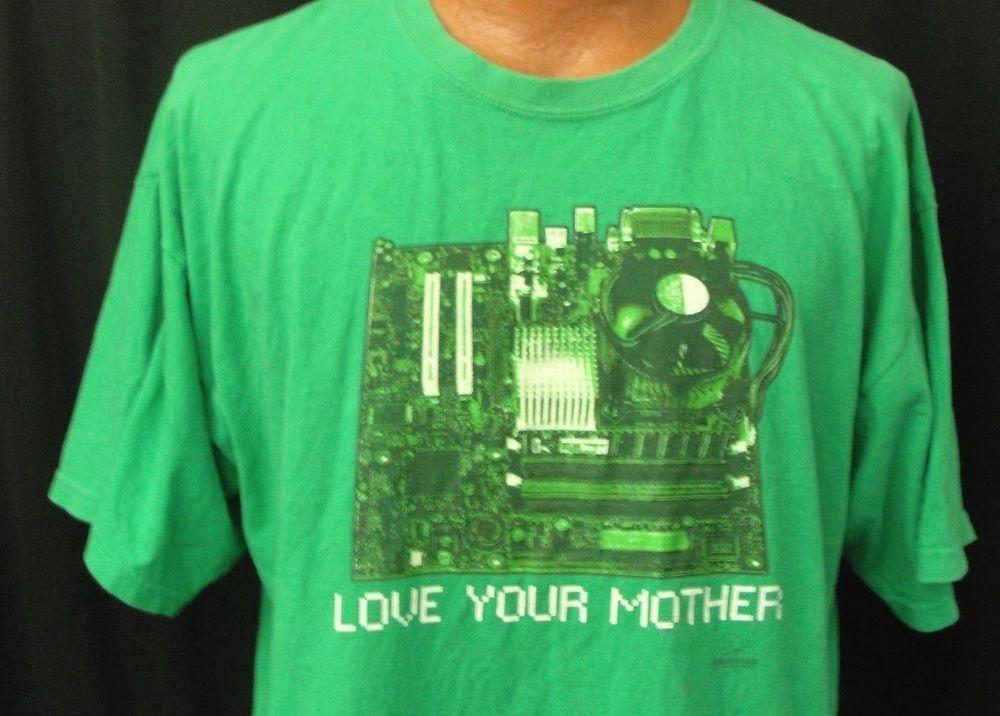 Absurditees love your mother board gag tshirt xl green