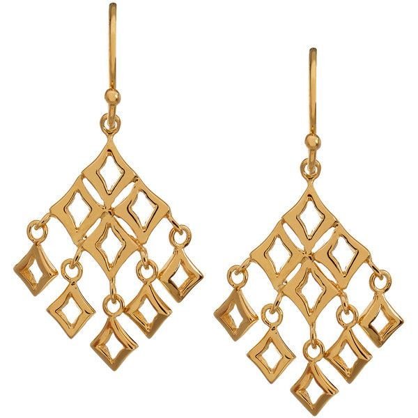 Dinny Hall Almaz Gold Drop Earrings (170 CAD) ❤ liked on Polyvore featuring jewelry, earrings, gold, gold square earrings, gold jewellery, dinny hall, drop earrings and yellow gold earrings