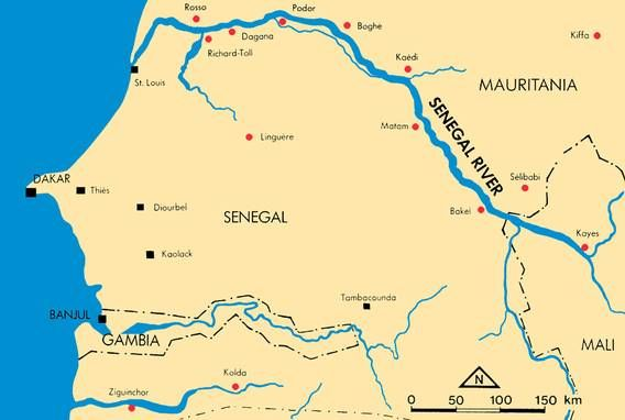 A map of the senegal river. This river is a borader between