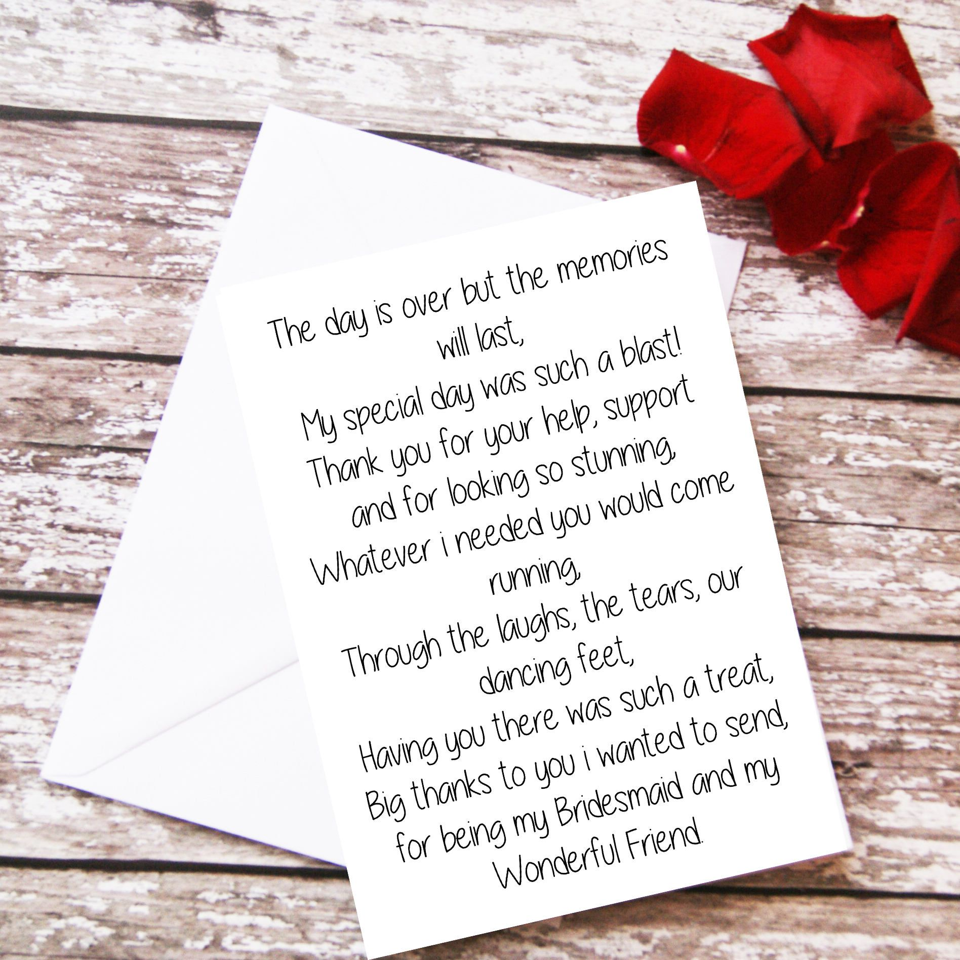 Bridesmaid Thank You Card Bridesmaid Gift Bridesmaid Poem Card