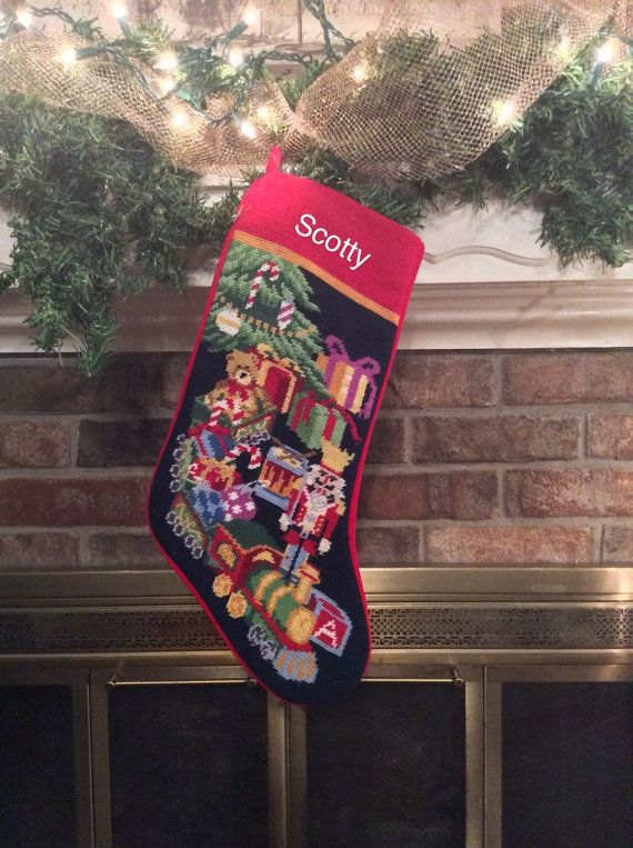personalized christmas stocking with toys christmas stockings needlepoint christmas stocking personalized christmas stockings - Personalized Needlepoint Christmas Stockings