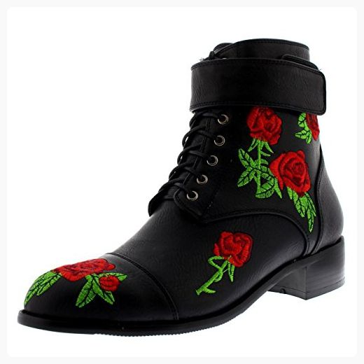 Womens Army Chic Fashion Flowers Punk Combat Embroidered Ankle Boots