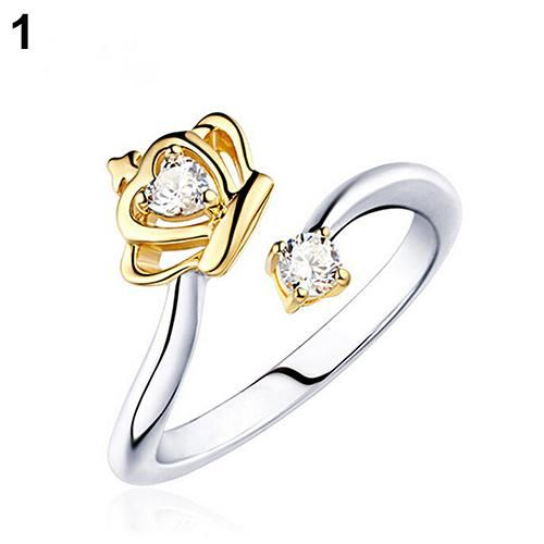 Women's Princess Queen Style Crown Zircon Open Ring Noble Royalty Jewelry Gift - Gold