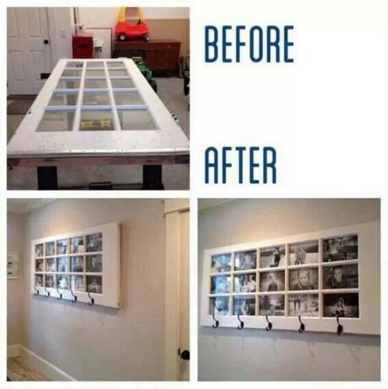 Old glass pane door turned into an awesome photo frame with hooks ...