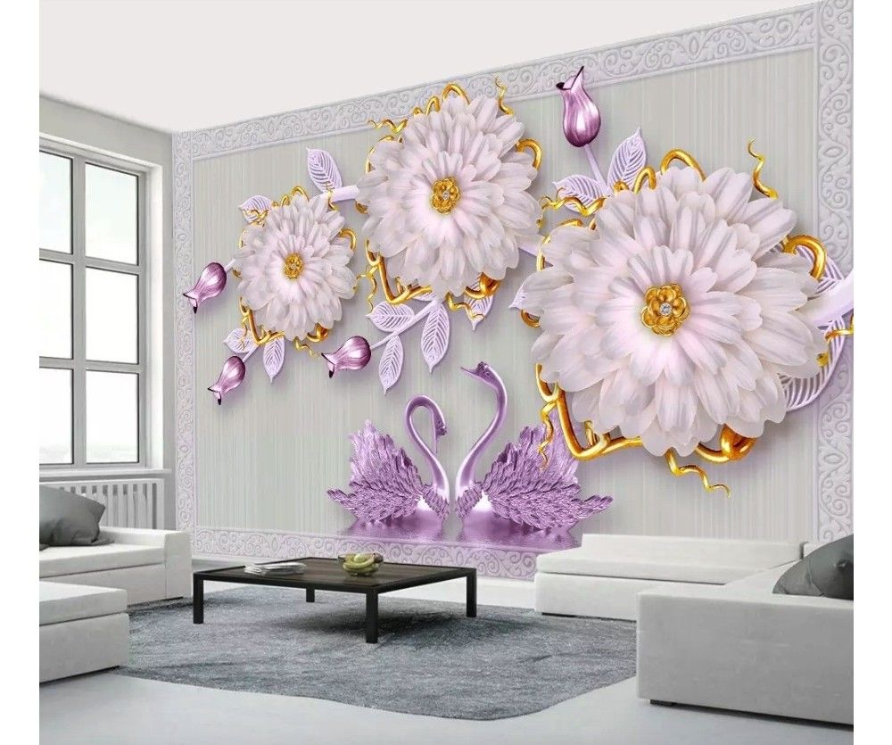 3d Look Swan And Purple Tulip Floral Wallpaper Mural