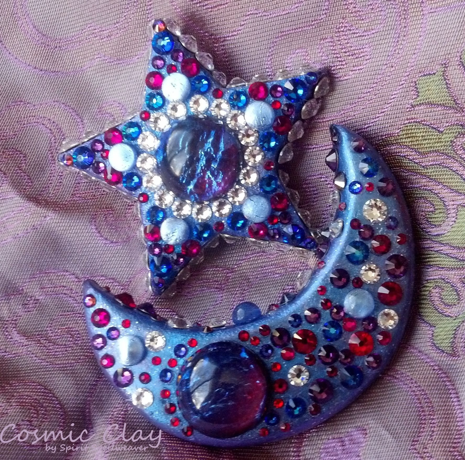 """""""Space Dementia"""";     Cosmic Clay by Spirit Spellweaver --Clay & Swarovski Crystal Star Pendant and Crescent Moon Brooch set featuring Dragon Opal and named for one of my favourite Muse songs. Sold."""