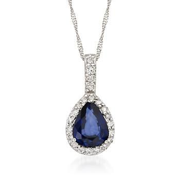 """1.35 Carat Sapphire and .15 ct. t.w. Diamond Necklace in 14kt White Gold. 16"""""""