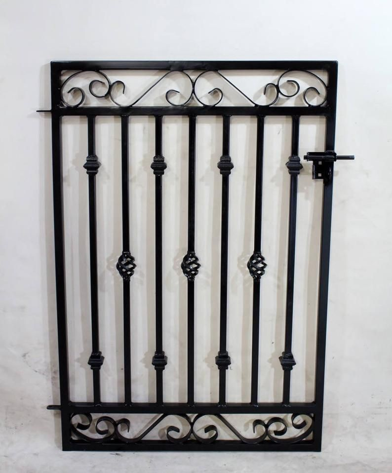 Steel Entrance Gate Antique Style Custom Rectangle 42 Tall Donovan Wrought Iron Gateway In 2020 Iron Gate Design Metal Fence Gates Wrought Iron Gates