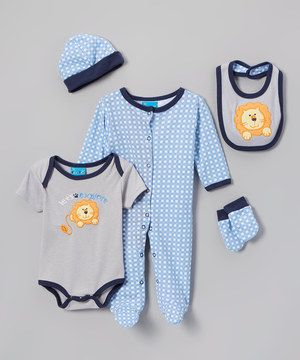 Look at this #zulilyfind! Sweet & Soft Blue & Gray Lion Layette Set - Infant by Sweet & Soft #zulilyfinds