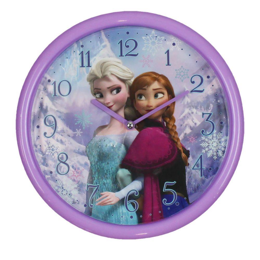 DISNEY FROZEN PURPLE WALL CLOCK ANNA & ELSA GIRLS BEDROOM ...