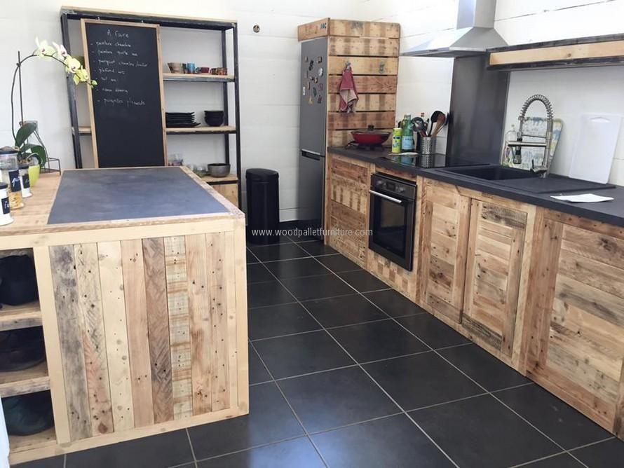 Wood Pallet Powered Kitchen Meuble Cuisine Bois Meuble Cuisine