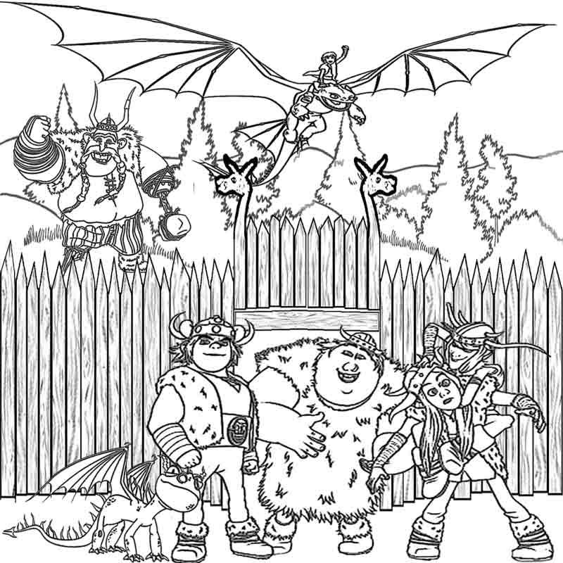 Viking Fortress Night Fury And Hiccup How To Train Your Dragon Coloring Pages For Kids Print Out