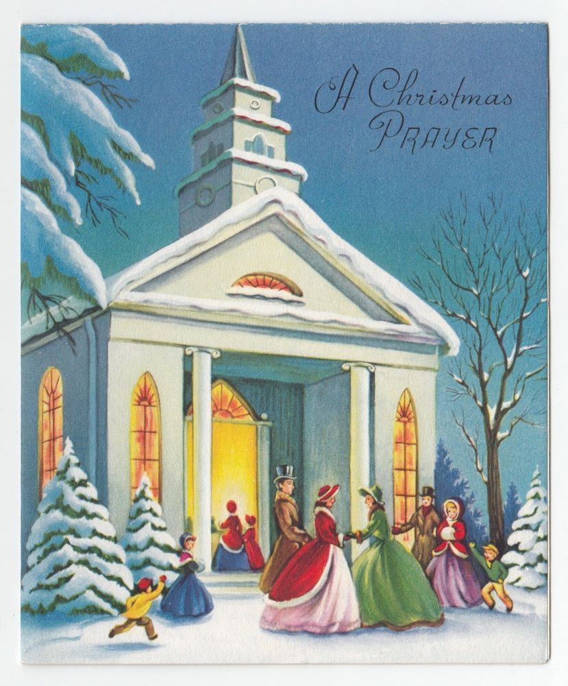 Vintage Greeting Card Christmas Old Fashioned People Going To Church