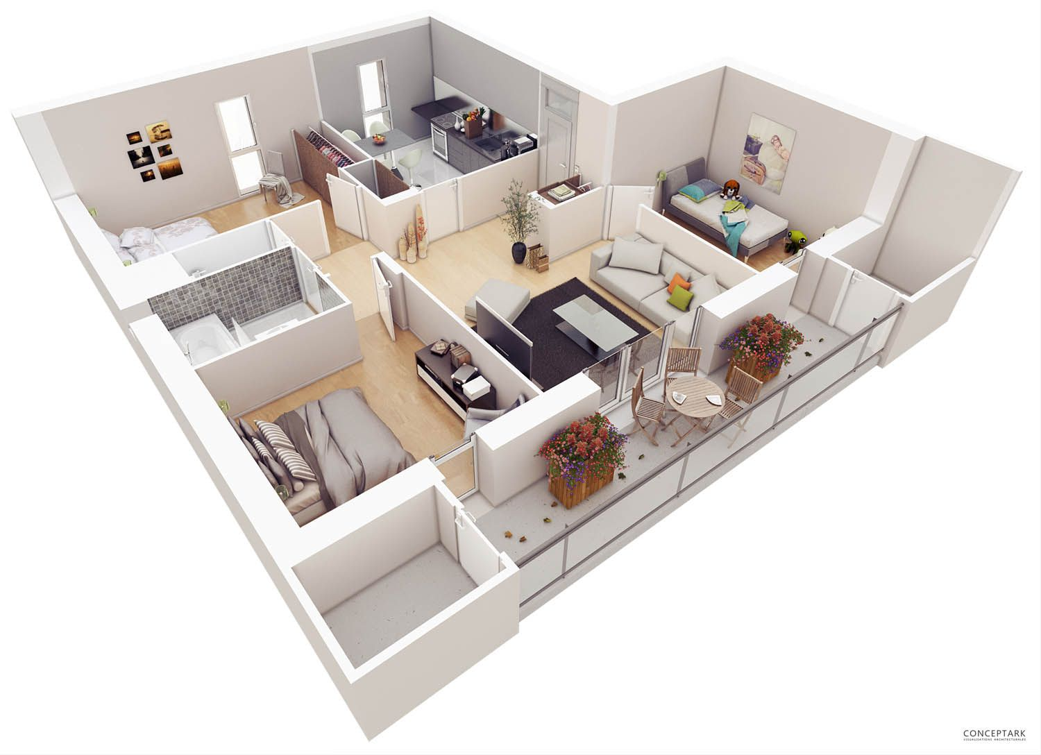 20 Stylish Modern Home 3D Floor Plans - Architecture & Design ...