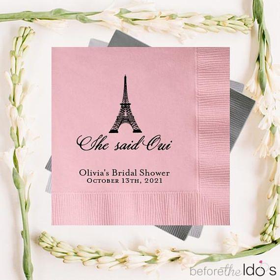she said oui personalized bridal shower napkins beforetheidos shesaidoui bridalshower