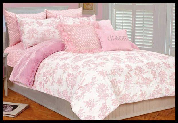 Pink Toile Duvet Cover White Bed Set Toddler Bed Set Rose Bedroom