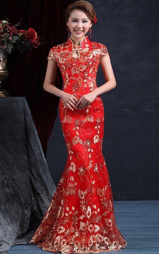 Chinese Wedding Fishtail Gown Cheongsam Beading Evening Banquet Dress