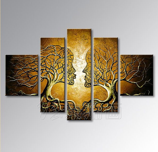 modern Oil Painting on Canvas lover tree more color Wall Art Home ...