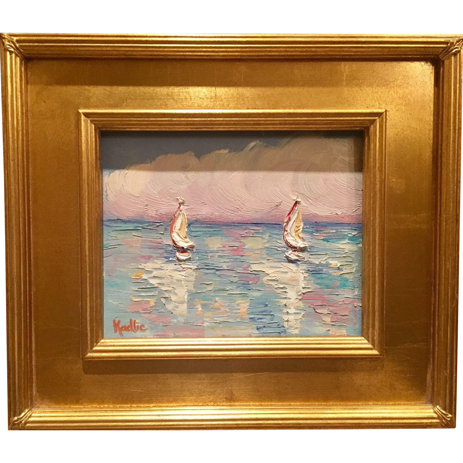 """Abstract Sailboat Reflections Seascape"", Original Oil"