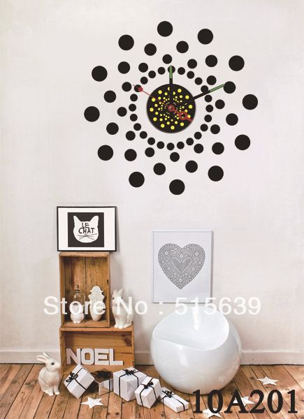 DIY Vinyl Wall Stickers Clock Big Black Point Home Decoration