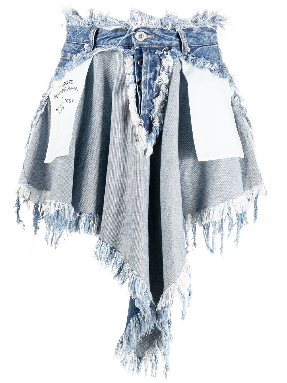 Does it feel like your life is a bit chaotic at times? Crafted from blue patchwork denim, this Chaos distressed skirt helps you navigate through it. Unravel Project has you covered. Featuring a patchwork design, a high waist, belt loops, a five pocket design, raw edges, an asymmetric hem and a short length.