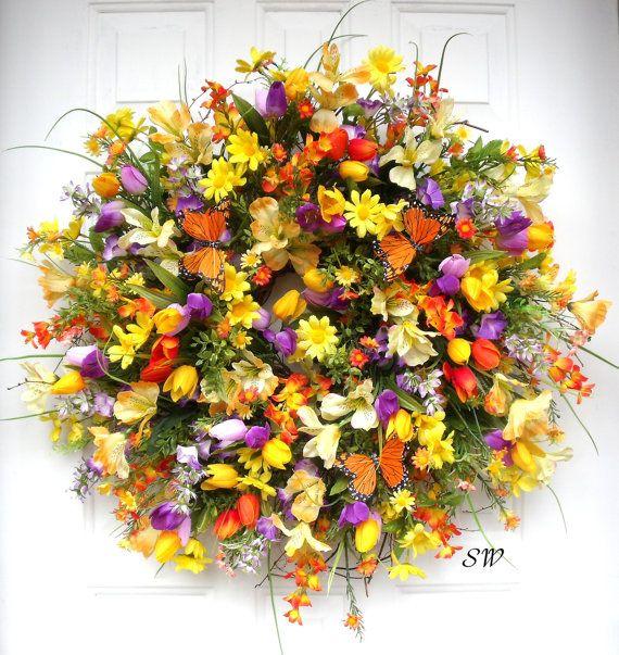 Spring Wreath Summer Wreath-Wildflower by SeasonalWreaths on Etsy