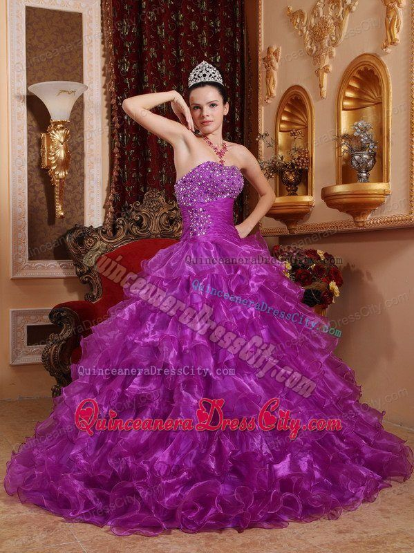 cc115748949 Purple Floor-length Beaded Quinceanera Dresses with Ruffled Layers ...