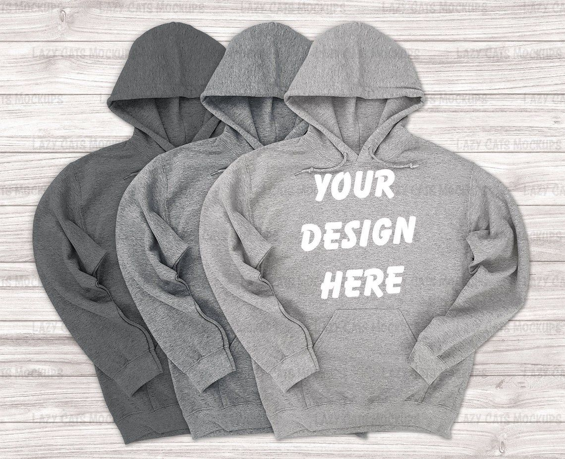 Download 3 Heather Grey Gildan 18500 Mock Up Hoodie Sweatshirt Gildan Etsy Hoodies Sweatshirts Hoodie Mockup