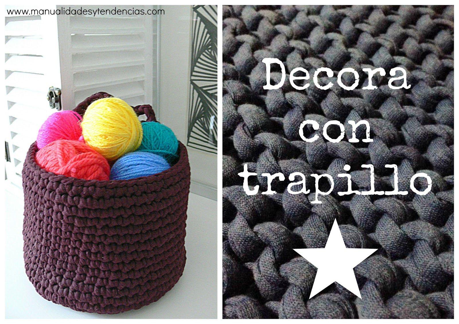 Crochet: cesta de trapillo con patrón gratis | Alfombra | Pinterest ...