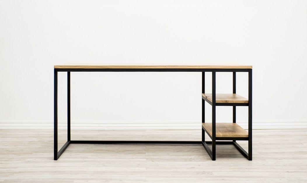 Escritorio con baldas estructura de tubo de 2 5cm y madera de roble barnizado natural interiores - Mesa escritorio madera ...