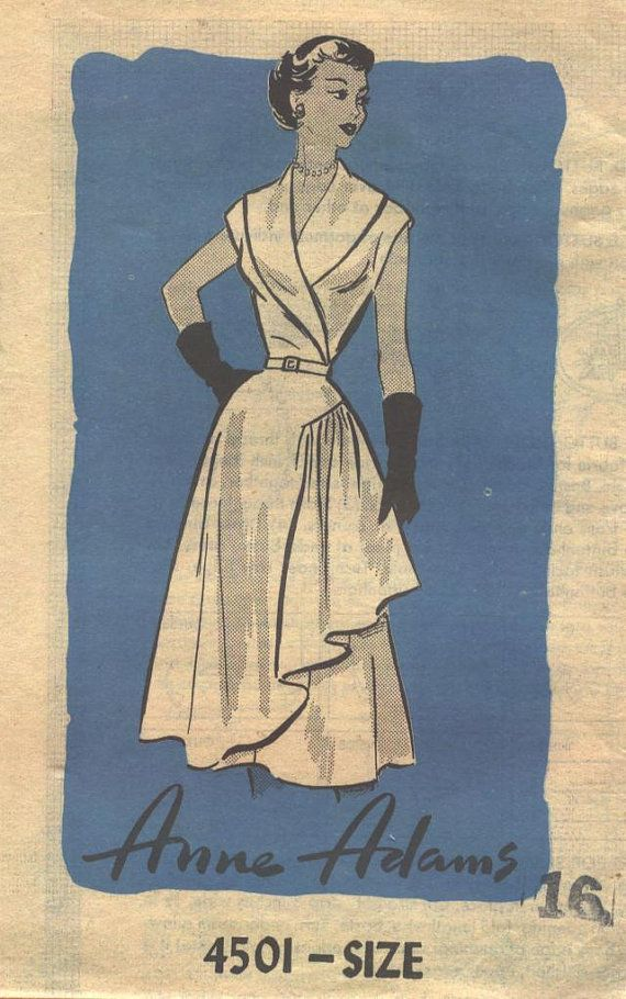 Anne Adams 1950s Vintage Dress Sewing Pattern UNCUT Bust 36 Inches ...