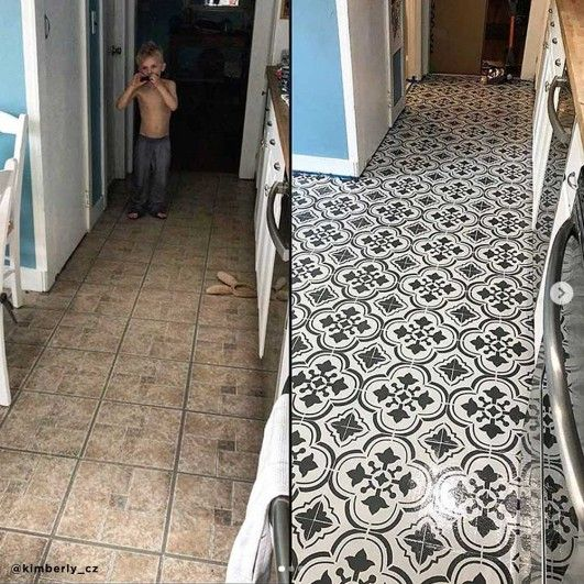 Stencil Your Old Tile Floor Or