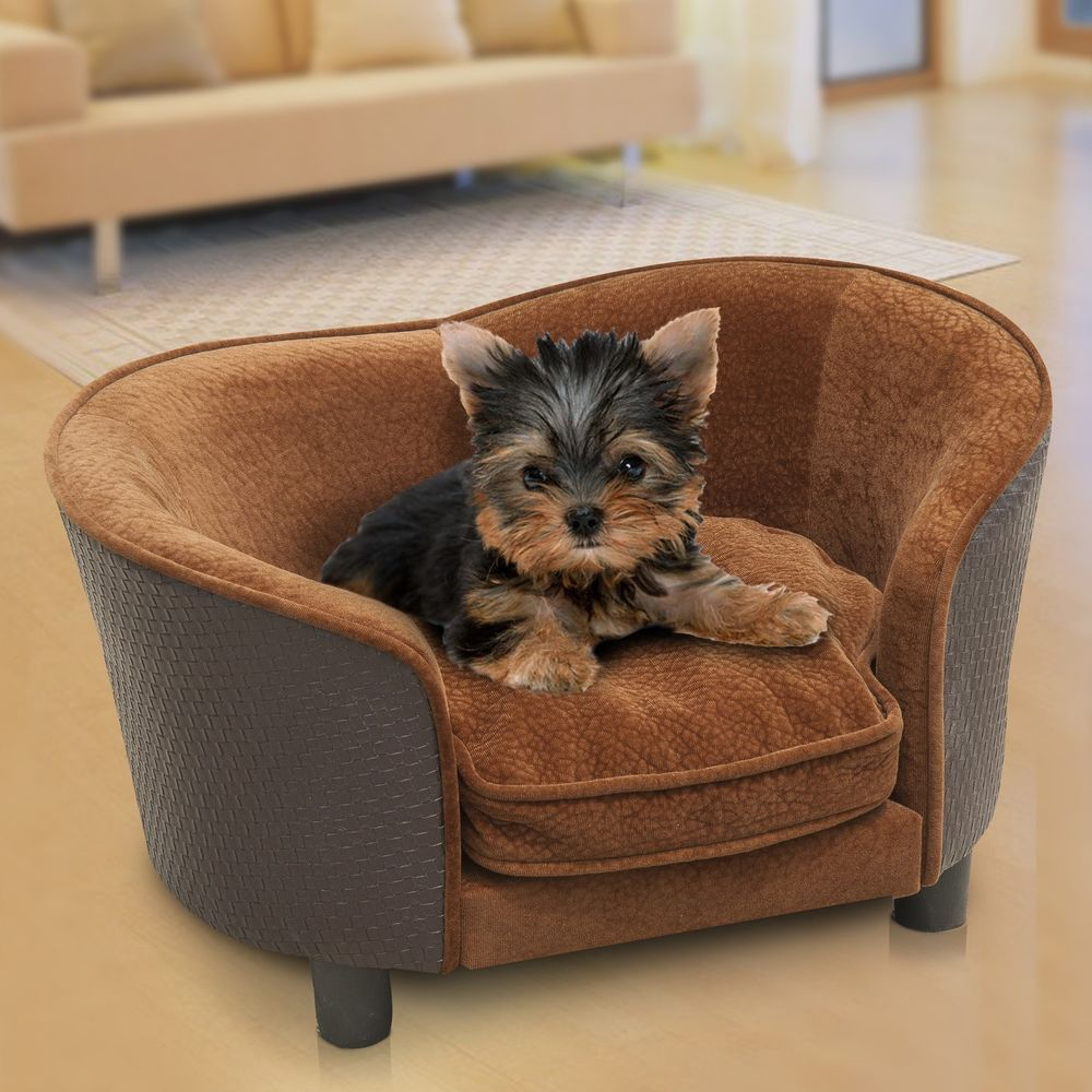 Pawhut Pet Dog Sofa Bed Couch Lounge PU Leather Plush w ...