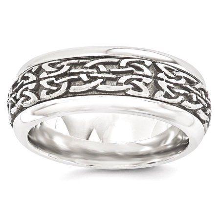Titanium Grooved Ridged Edge 8mm Brushed Wedding Ring Band Size 8.50 Fashion Bridal & Wedding Party Jewelry