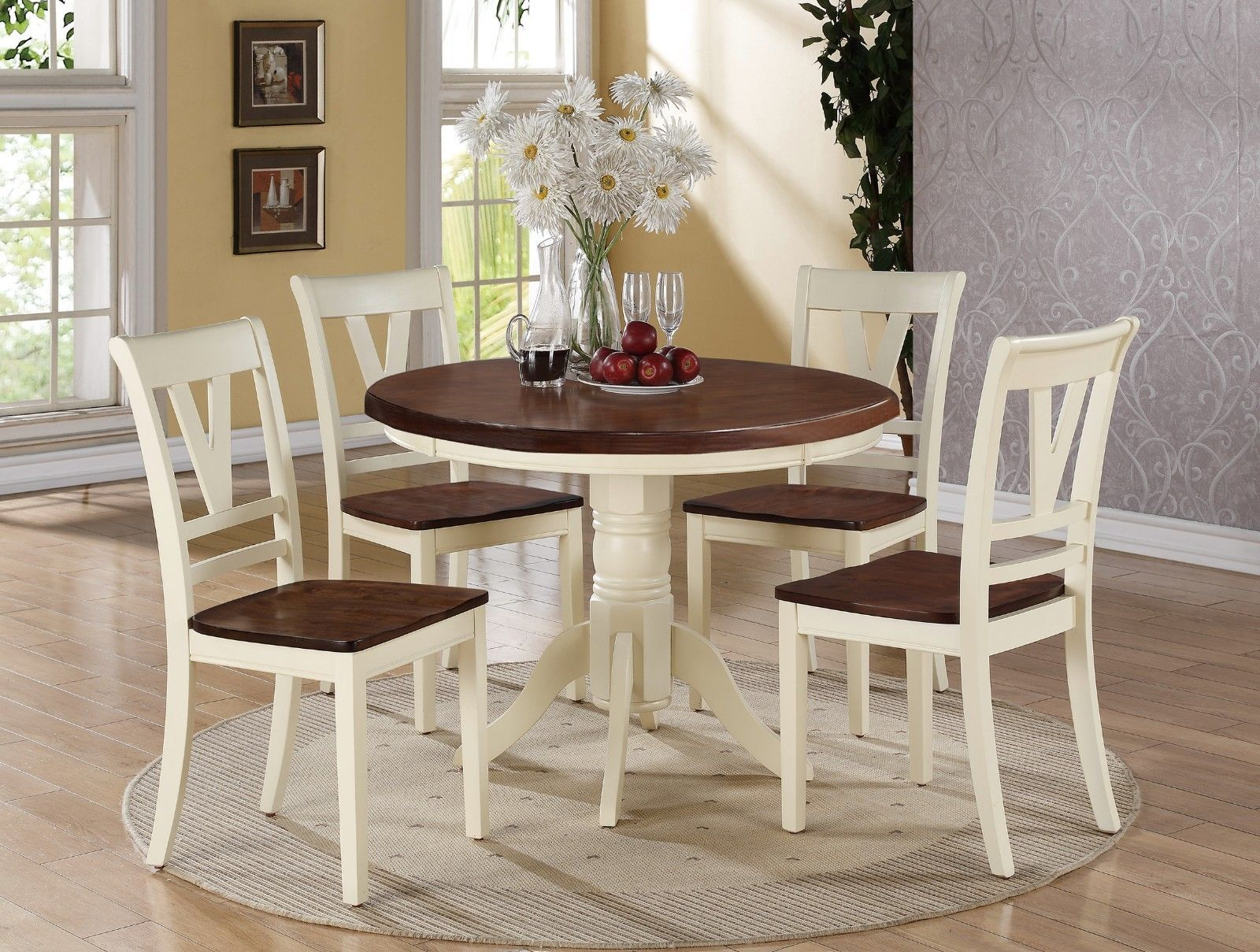 5 Pc Country 2 Tone Cream Cherry Wood Round Dining Table Side