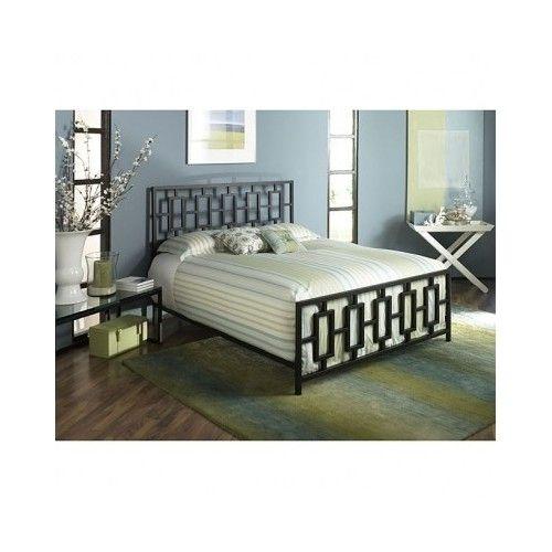 King Size Bed Frame Metal Brown Contemporary Sleek Bedroom Furniture ...