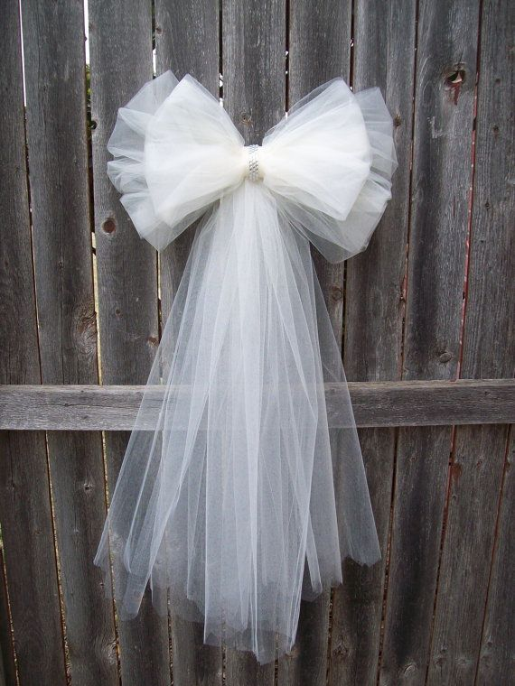 Tulle Pew Bow, OVER 20 COLORS, Tulle, Church Pew Decor, Tulle Pew ...
